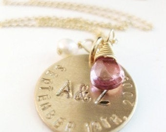 """Custom Wedding Necklace - """"Happy Ever After"""" in Gold"""