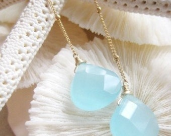 Aqua Chalcedony Lariat Necklace / Lucky Enough Mediterranean Blues