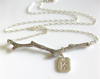 "Tree Branch Necklace - ""Out on a Limb"" in sterling silver"