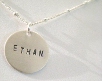 "Personalized Silver Charm Necklace - ""One"""