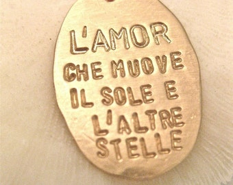 "Italian Quote Necklace - ""Dante's God"" in GOLD"