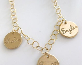 "Gold Mommy Necklace - ""Petite Gold Coin Names in Script"""