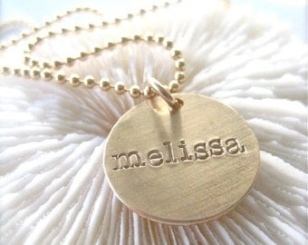Gold Tag Necklace on a Ball Chain