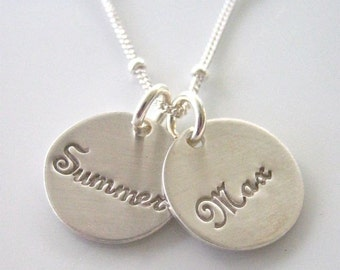 "Custom Silver Charm Necklace - ""Pretty Little Names in Sterling and Script"" - Two Discs"
