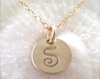 "Gold Initial Charm Necklace - ""Petite Initial in Script"""