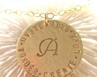 """Personalized Gold Pendant - """"Gold Initial Value"""" -on a long chain"""