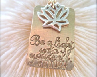 "Buddha Quote Jewelry - ""Buddha Bright"" - necklace in two-tone gold and silver"
