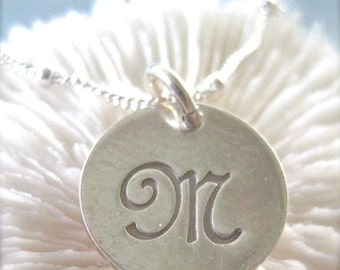 "Script Initial Charm Necklace - ""Initially Yours"" Personalized Sterling Silver"