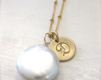 """Coin Pearl Gold Necklace with Hand Stamped Script Initial Charm - """"A Simple Glow"""" Personalized"""