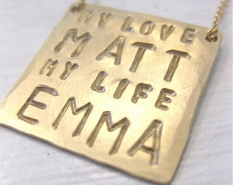 My Love and My Life - Personalized Square Pendant Necklace