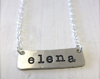 Horizontal Silver Bar Necklace - Personalized and Hand Stamped