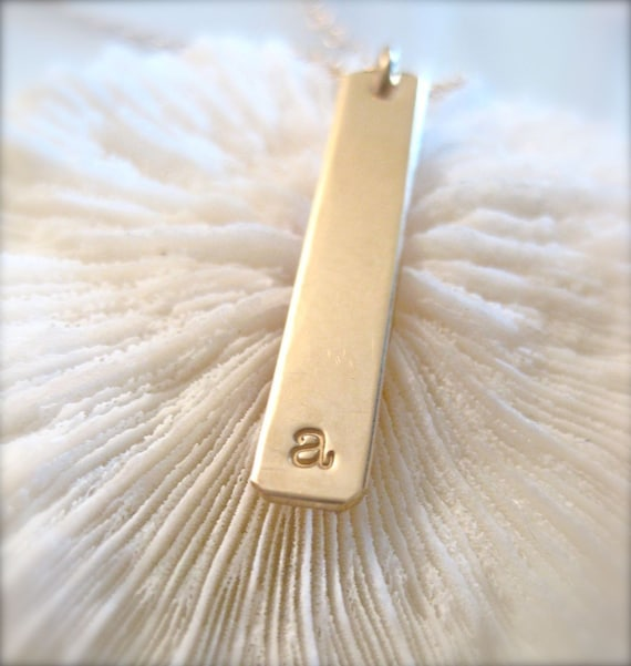 "Gold Bar Charm Necklace - ""The Long Bar Initial in Gold"""