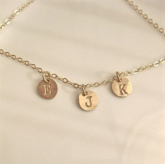 "Dainty Gold Necklace - Personalized ""Tiny Initial Coins"" - with three charms"