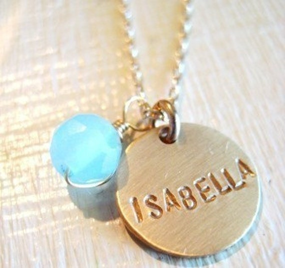 Single Gold Name with Aqua Chalcedony Bead