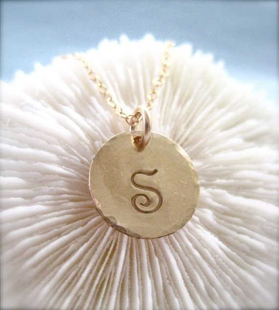 """Dainty Gold Charm Personalized Necklace - """"Initial Impression"""" - with one charm"""