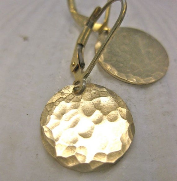 Gold Disc Earrings - Hammered and Polished