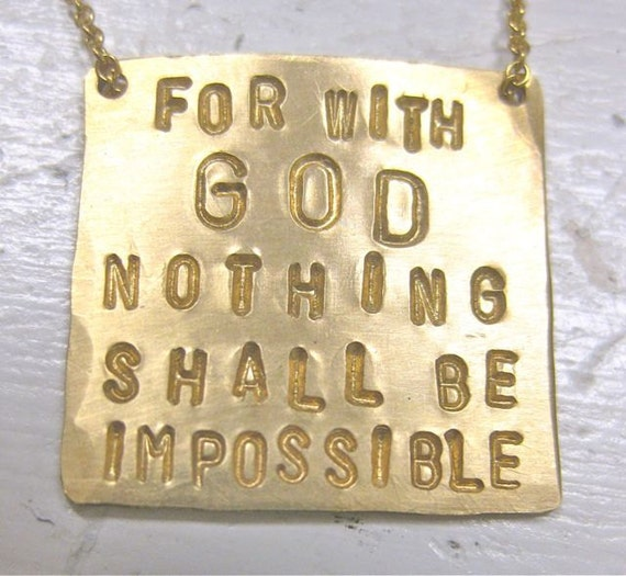 Inspirational Jewelry - Square Pendant Scripture Necklace in Gold - For with God nothing shall be impossible