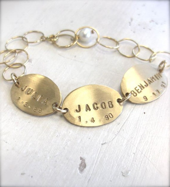 Mommy Bracelet - Personalized and Hand Stamped Gold Charms with Birthdates