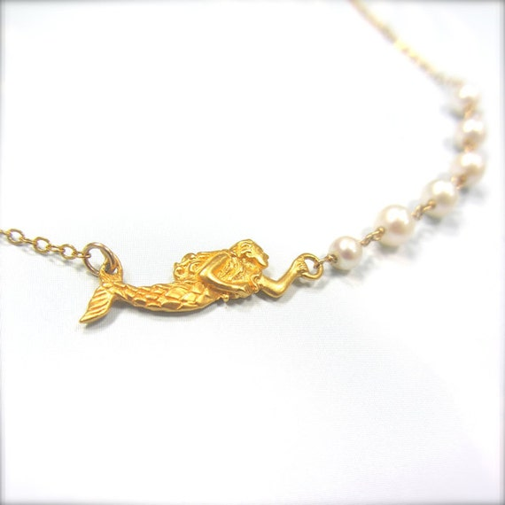 """Siren Necklace with Fresh Water Pearls in Gold - """"I Must Be A Mermaid"""""""