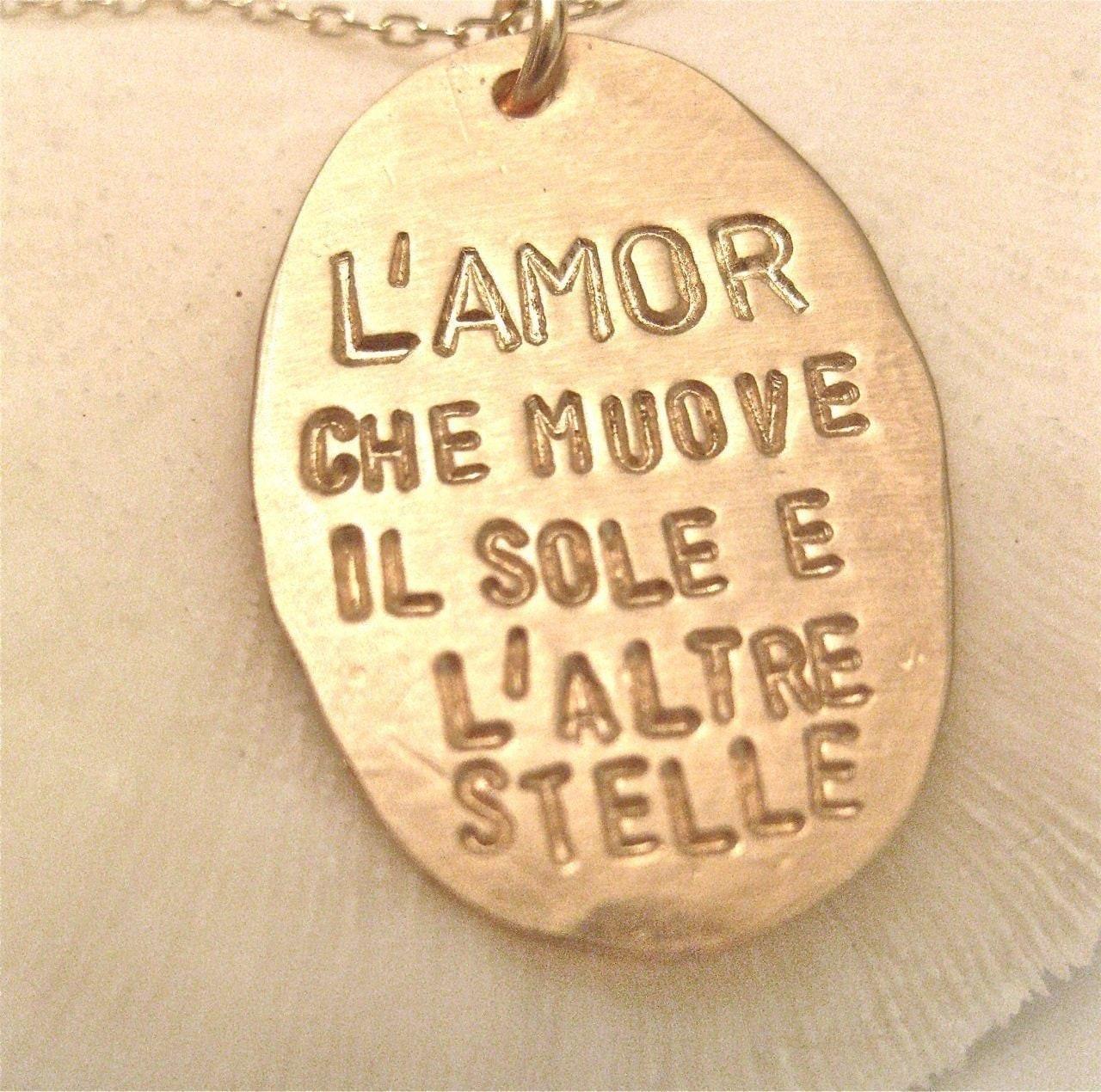 Italian Love Quotes Italian Quote Necklace Dante's God In Gold