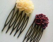 Beige Maroon Antique Brass Flower Hair Combs  Wedding Victorian Shabby Chic Regency Simple Chic Tribal Austen