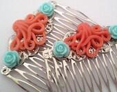 Orange Blue Octopus Hair Combs Cephalopod Ocean Sea Shabby Chic Trend