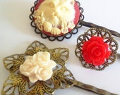 Cranberry Red Persian Cat Filigree Antique Brass Bobby Pin Set