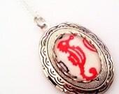 Red Seahorse Cameo Locket - Nautical Ocean Sea Necklace