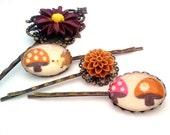 Hedgehog Bobby Pin Set-Set of 4-Antique Brass-Fall Fashion-Back to School-Teen Gift-Floral Hair Pin-Fashion Hair Slides-Mushroom Fan-Kawaii