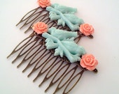 Blue Orange Birds on a Branch Hair Combs Birds Woodland Regency Shabby Chic Sparrows Trendy Cottage Not Steampunk Whimsicle