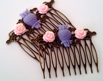 Pink Blue Owl Hair Combs Birds Woodland Regency Shabby Chic Hot Neon Pink Trendy Cotton CandyCottage Not Steampunk Whimsicle