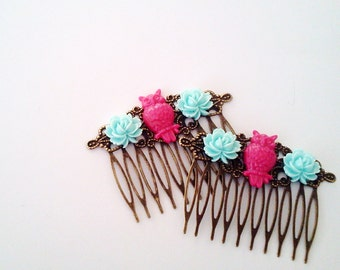 Magenta Blue Owl Hair Combs Birds Woodland Regency Shabby Chic Hot Neon Pink Trendy Cottage Not Steampunk Whimsicle