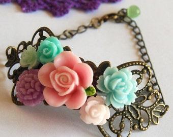 Floral Corsage Bracelet  Antique Brass Victorian Aristocratic Spring Fashion Pastel