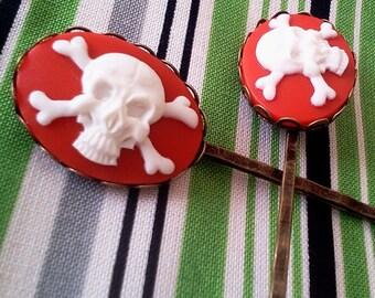 Red Jolly Roger Skull Crossbones Bobby Pin Gothic Cameo Set Pirate Punk Goth Lolita Bobby Pin Set Formal Chic Roses Regency EGL EGA