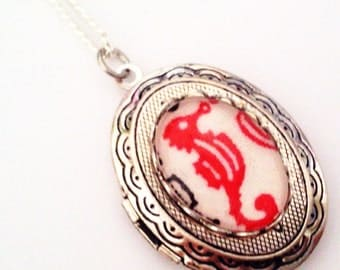 Red Seahorse Cameo Locket - Nautical Ocean Sea Necklace