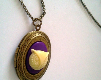 Purple Woodland Owl Locket - Trend  Kitsch Cute