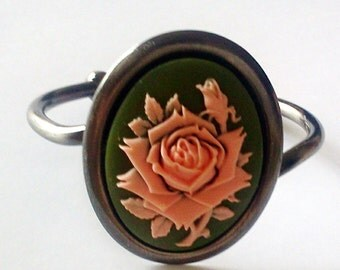 Giant Pink Rose Cameo Bracelet Shabby Chic Cottage Statement Piece Green Background