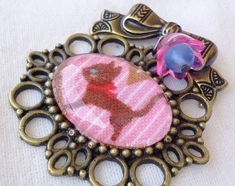 Kawaii Cat Brooch-Kitten Pin-Fabric Accessory-Antique Brass-Cameo Pin-Flair-Harajuku Style-Hime Gyaru Ageha-Pin Game Strong-Flair-Cat Lover