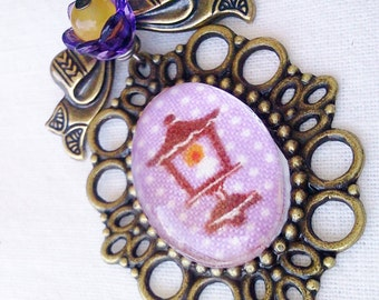 Lantern Brooch-Pretty-Fashion Accessory-Light in Darkness-Narnia Lamppost-Antique Bronze-Purple Flower-Victorian Regency-Cute Street Fashion