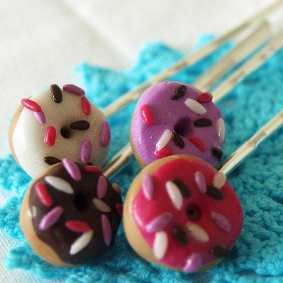 Donut Bobby Pins Hair Cute Kawaii Faux Food Sweet Yummy gag gift Raver Kandi Candy Funky Chic Street Fashion