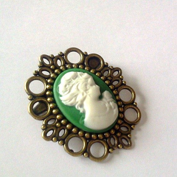 Sage Green Cameo Brooch Pin Romantic Antique Brass Regency Rococo Victorian Marie Antoinette EGL Woman