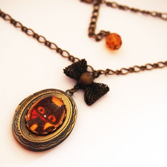 Black Kitty Cat Cameo Locket - Antique Brass Formal EGL Kawaii