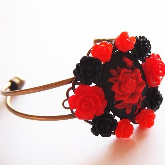 Red Red Rose Cameo Collage Bracelet- Antique Brass Formal EGL Kawaii