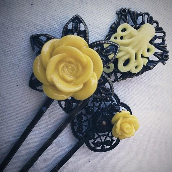 Yellow Octopus Garden Floral Filigree Antique Brass Bobby Pin Set Formal Chic Roses Regency Wedding EGL EGA Everday