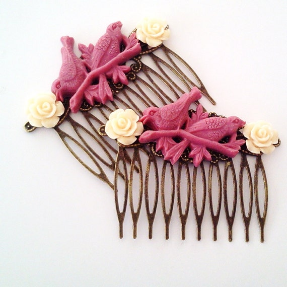 Bird Hair Combs Maroon Cream Woodland Cottage Fall Fashion Wedding Couture Glamasaurus