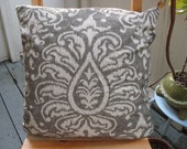 RESERVED for Tiffany - 18 X 18 in. Throw Pillow - Ikat Grey Damask - Pillow Case only