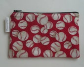 Reusable Snack Bag Zipper Baseball on Red
