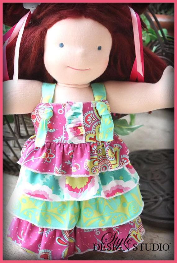 Amy Anyone  15 inch waldorf doll clothes  Rhumba Pants Ruffled Knot Top