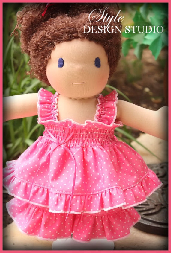 10 inch Party in Pink Waldorf Doll Clothes Dress Ruffled pants