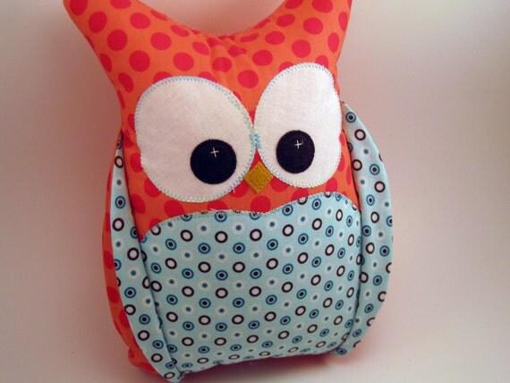 Plush Owl Pillow Riley Blake fabrics READY TO SHIP